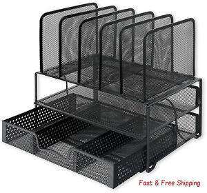 Mesh Desk Organizer With Sliding Drawer Double Tray 5 Upright Sections Black