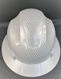 White Full Brim Hard Hat Custom Hydro Dipped white Carbon Fiber Design