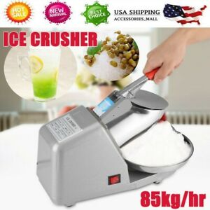 Electric Ice Crusher Shaver Commercial Machine Snow Cone Maker 85kg hr 1350r min