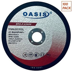 100 Pack Oasis Cut Off Wheels 6 Inch Grinder Cutting Disc For Metal