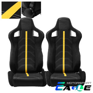 2xblack Pvc Suede And Yellow Line Reclinable Racing Seats single Adjustor Slider