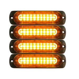 4pcs 10 Led Strobe Lights Emergency Flashing Warning Beacon Yellow Amber 12v 24v