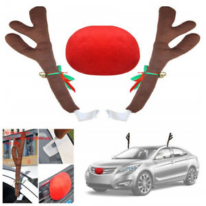 Lovely Car Red Nose 2x Reindeer Antler Kit With Jingle Bell Christmas Decoration