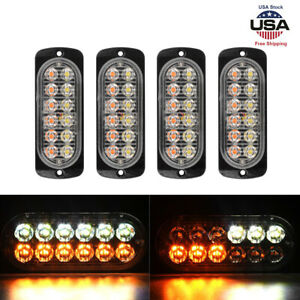 4 Amber 12 Led Car Truck Emergency Beacon Warning Hazard Flash Strobe Light Bars