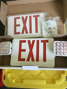 Red All Led Exit Sign Emergency Light Square Head New In Original Box 120 277 Ac