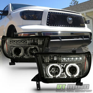 For Smoked 2007 2013 Toyota Tundra Sequoia Led Drl Running Projector Headlights