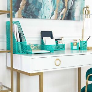 Blu Monaco Dark Teal 5 Piece Cute Desk Organizer Set Cute Office Accessories