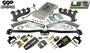 1968 72 Chevy Chevelle Ls Engine Conversion Kit Adjustable Mounts Holley Oil Pan