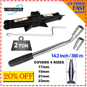 Car Steel Tire Wheel Lug Wrench 2 Ton Scissor Jack Crank Speed Handle Lift Tool
