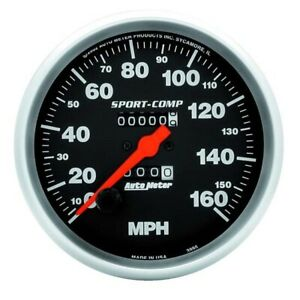 Autometer 3995 Sport Comp Mechanical Speedometer 160 Mph 5 Inch
