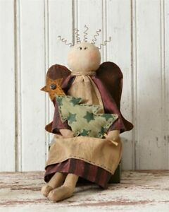 Primitive Country Sitting Angel Doll Holding Christmas Tree Wire Hair 18