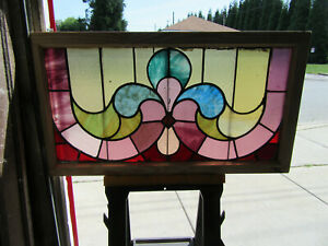 Antique Stained Glass Transom Window 2 Of 2 45 X 25 Architectural Salvage