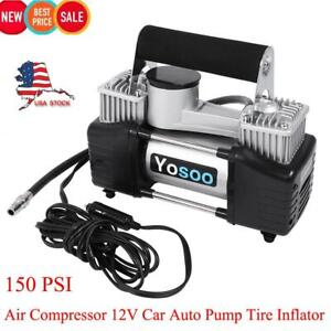 150psi 12v Car Tire Tyre Inflator Heavy Duty Double Cylinder Air Pump Compressor