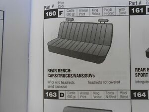 Full Size Rear Bench Seat Cover Thick Grey Wool Blend New Old Stock Base Usa