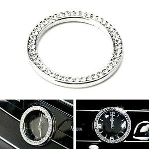 Crystal Silver Dashboard Clock Surrounding Decoration Ring Trim For Mercedes