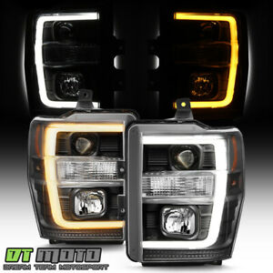 2008 2010 Ford F250 F350 Superduty Blk Switchback Led Tube Projector Headlights