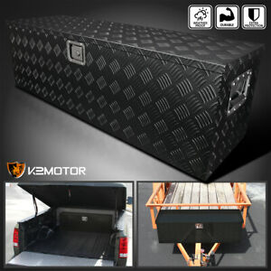 49 x15 x15 Heavy Duty Black Aluminum Tool Box Truck Storage Trailer Flat Bed