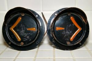 Pair Of Vintage Arrow Safety Turn Signal Lights Flange Mount Bus Truck Rat Rod