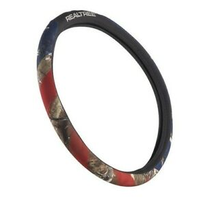 Realtree Camouflage And American Flag Steering Wheel Cover