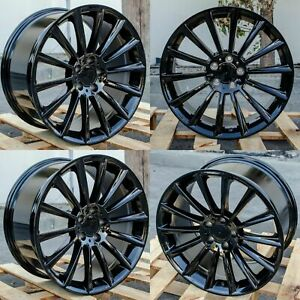19x8 5 19x9 5 Black Wheels Fit Mercedes S430 S500 S550 E320 19 Inch Rims Set 4