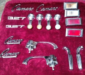 1967 Camaro Emblems Set Parts For Car Door Handles Lights Window Crank Used