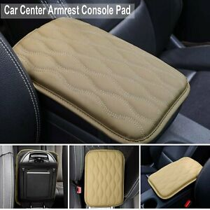 Universal Pu Leather Car Center Console Armrest Cushion Mat Pad Cover Beige