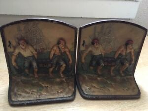 Antique Cast Iron Pirates Bookends Marked 213 Treasure Chest Ship Ornate Hubley
