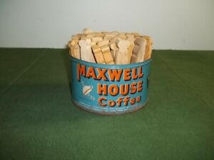 Vintage Maxwell House Coffee Tin Wooden Flat Clothes Pins Laundry Room Decor