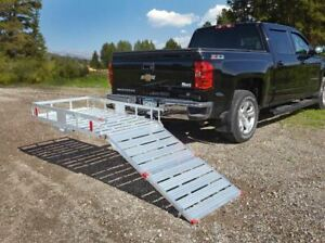 Aluminum Cargo Carrier With Ramp 500 Lbs Capacity Heavy Equipment Fold Down Ramp