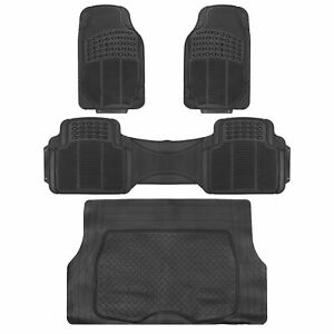 4pc Black Car Floor Mats Set Rubber Tortoise Liners W Cargo For Auto Suv Trucks