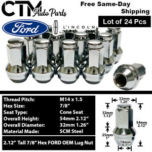 24 Chrome Ford Oem Factory Style 14x1 5 Lug Nuts Fit F150 Expedition 2015 2019