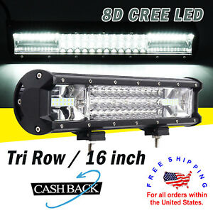 Led Work Light Bar 16 Inch 1280w Tri Row 8d Cree Spot Flood Combo Ute Truck 15