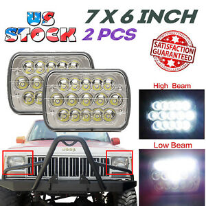 2x Led Headlights Sealed Bulbs For 1986 1995 Jeep 1984 2001 Cherokee Wrangler Yj