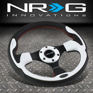 Nrg Reinforced 320mm Black Leather Red Stitch White Trim Inserts Steering Wheel