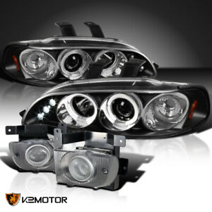 Fit 1992 1995 Civic 4dr Black Led Halo Projector Headlights Clear Fog Lamps