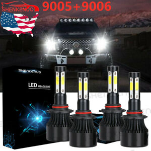 Car Headlight Bulb 9005 And 9006 Led Combo 4 Side High Low Beam Super Bright Us