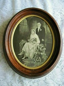 Antique Oval Wood Frame W Stunning Victorian Wedding Photo Fab Bouquets 10 X 12