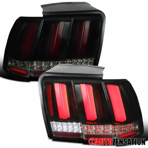 For 1999 2004 Ford Mustang Glossy Black Dark Smoke Tail Lights W Led Sequential