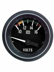 Stewart Warner Gauge Heavy duty Voltmeter 10 16v 2 1 16 Electrical Black 284h