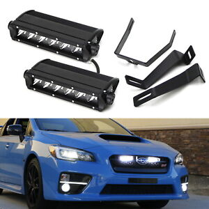 Dual 30w High Power Led Behind Grille Light Bar Kit For 2015 Up Subaru Wrx Sti