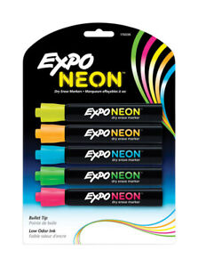 Expo Neon Color Dry Erase Markers 5 Pk Neon Bullet Tip