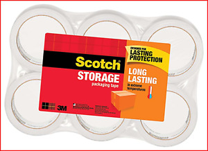 Scotch Long Lasting Storage Packaging Tape 1 88 Inches X 54 6 Yards 6 Rolls