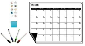 Magnetic Refrigerator Whiteboard Dry Erase Monthly Calendar Eraser Markers 17x13