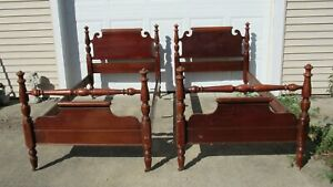 Pair Twin Vintage Poster Beds Great To Paint For Girls Room