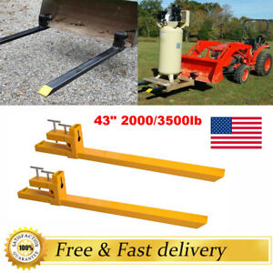 Us 2000lb 3500lb Capacity Clamp On Pallet Forks Loader Bucket Skid Steer Tractor