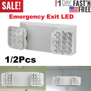 Adjustable Led Emergency Exit Sign Light Dual Head Battery Back up Ultra Bright