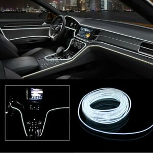 12v Car Auto Interior Led Decorative Wire Strip Atmosphere Neon Cold Light White