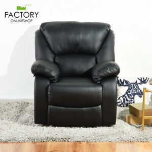 Leather Recliner Chair Single Couch Manual Reclining Sofa Lounge Home Furniture