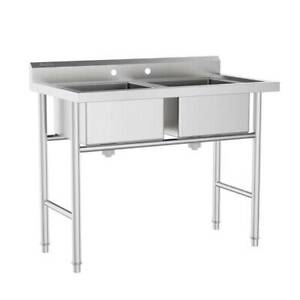 Commercial 304 Stainless Steel Sink 2 Compartment Free Standing Utility Sink
