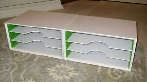 White Plastic Desk Organizers stackable file folder magazine Holder free Ship